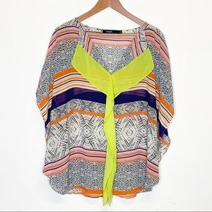 Neon Batik Caftan Top Eloquii by The Limited 16W